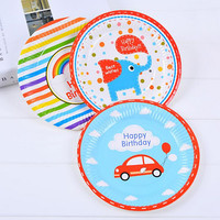 Cute Cartoon Disposable Paper Plate Tableware Children Baby Shower Birthday Party Decoration Supplies