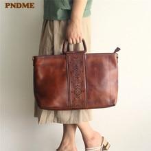 PNDME luxury genuine leather ladies handbag fashion vintage embossed soft cowhide large female tote bag women's messenger bags цена в Москве и Питере