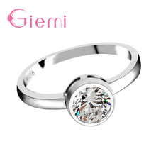 Romantic wedding Engagement Rings For Women 925 Sterling Silver Accessories With Shiny Stone Simple Elegant Style For Wife(China)
