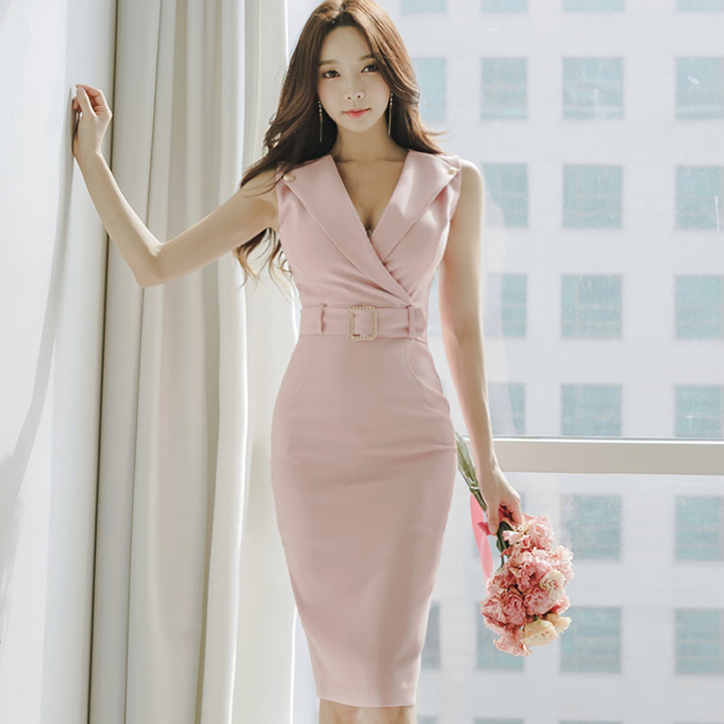 2018 Summer Sashes Blue Pink Notched OL Knee-Length Cloth Pencil Bodycon Sleevless Sexy Midi Work Dress