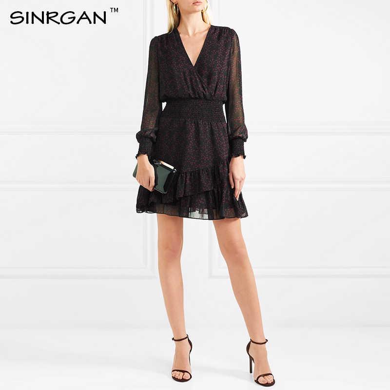 SINRGAN/черное элегантное сексуальное Клубное платье с v-образным вырезом, женское облегающее летнее платье с длинным рукавом, шифоновое платье трапециевидной формы, винтажное платье