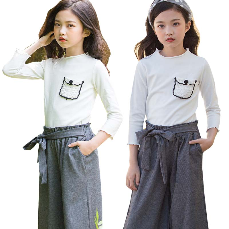 Girls Clothes Autumn Cotton T shirt Wide leg Pants Girls Suit Children Clothing Set long Sleeve Baby Kids Tracksuit 9 10 12 Year baby boy clothes set autumn children clothing sets kids girls long sleeve elephant cotton pants boys clothes sports suit