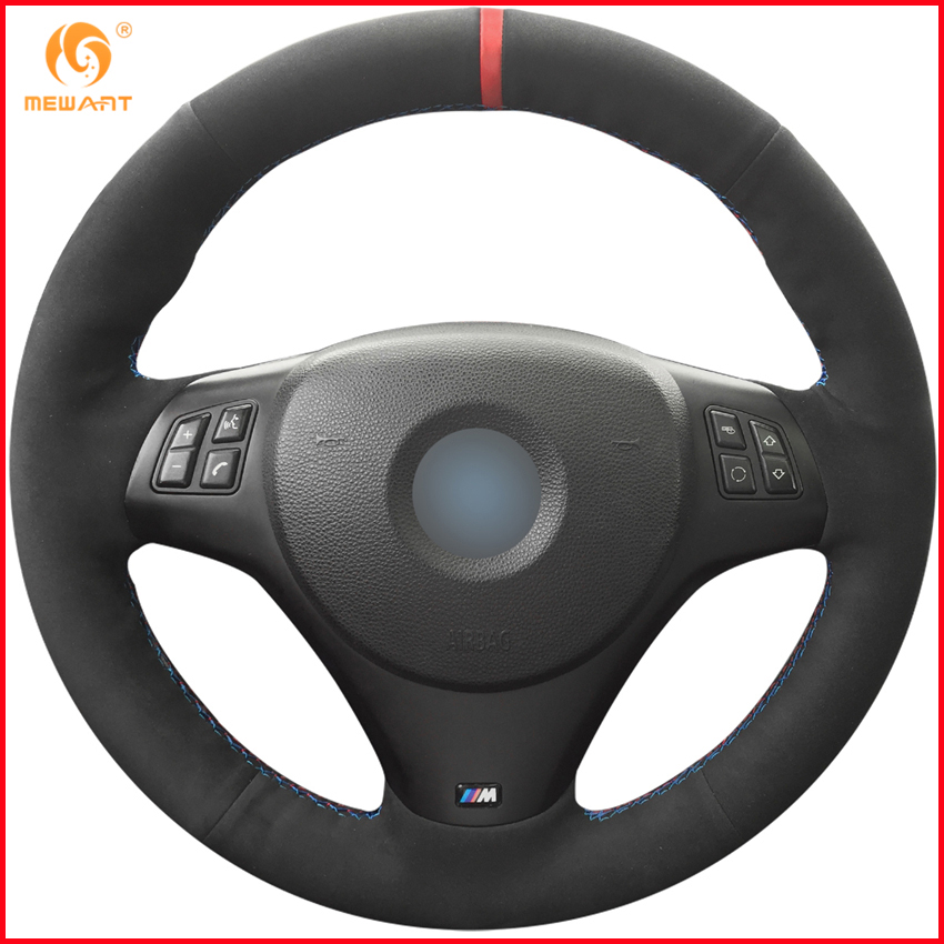 MEWANT Black Suede Car Steering Wheel Cover for BMW M3 2008 2009 2010 2011 2012 2013