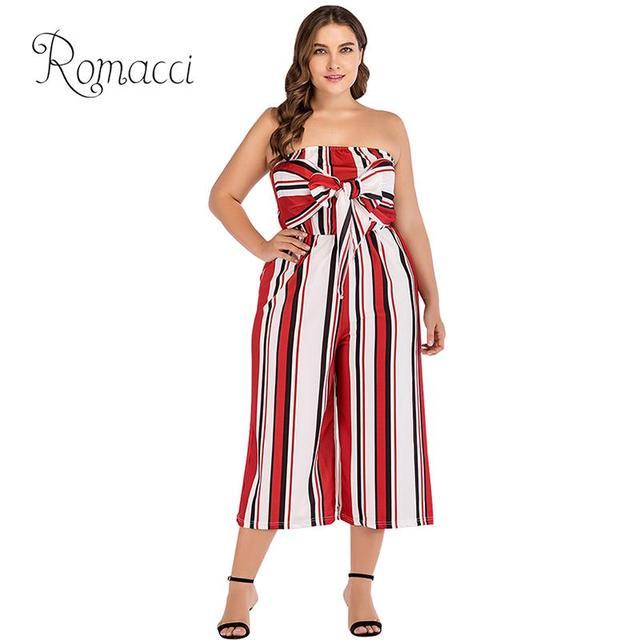 13f1b9e4a16 Romacci Women Striped Wide Leg Jumpsuit Slash Neck Sleeveless Backless Plus  Size Jumpsuits Casual Cropped Pants Playsuit RomperS
