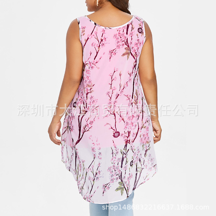 De púrpura Negro Tamaño blanco Mujeres azul La 5xl Corto Gasa Grande rosado Bachash Más Verano Las Impresión Chaleco Superior Nuevo SUWqYH