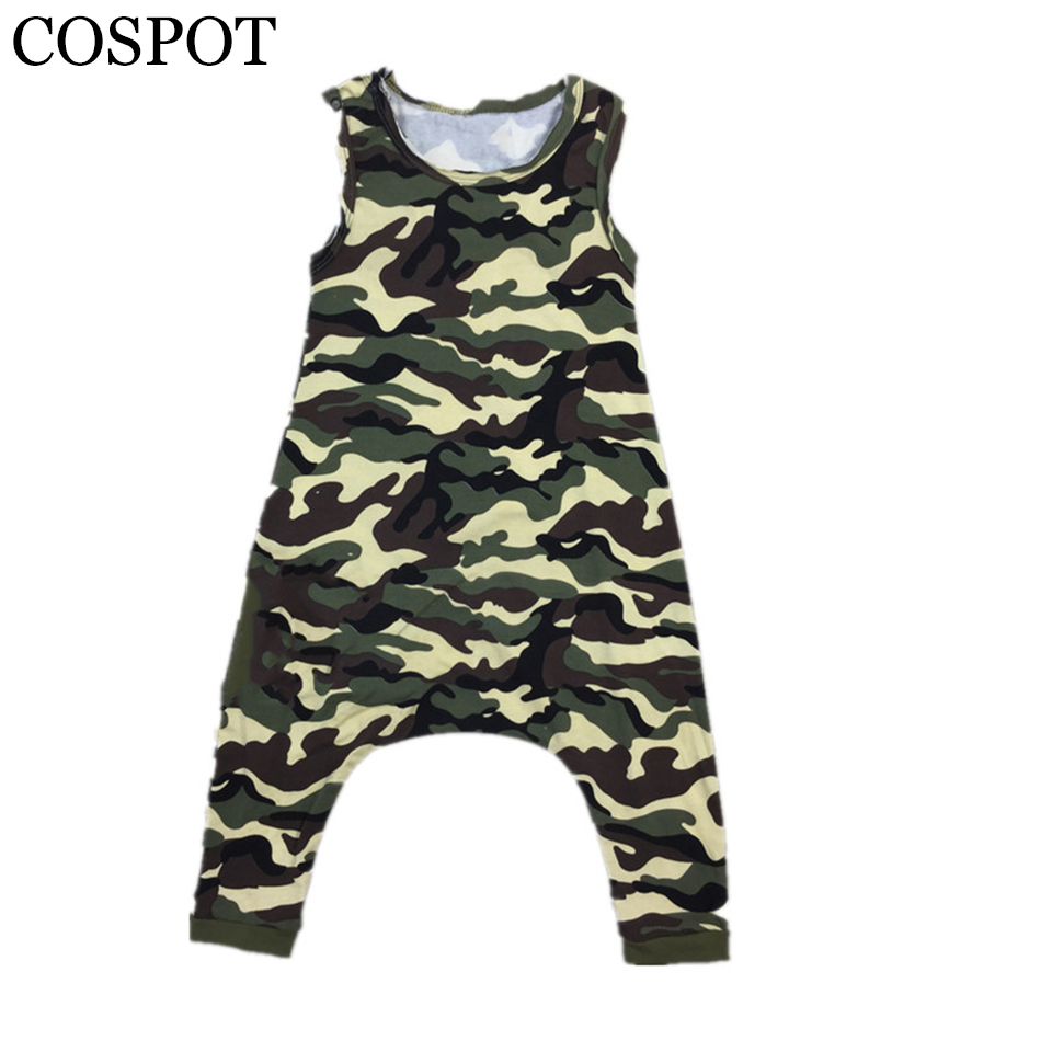 Baby Girls Boys Harem Rompers Kids Sommar Camouflage Tank Jumpsuits Barn Bomull Drop Crotch Short Jumper 2017 New F31