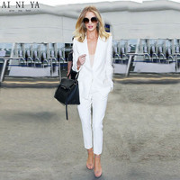 NEW fashion white trouser suit female business suit ladies formal pant suits for weddings tuxedo 2 piece blazer set CUSTOM