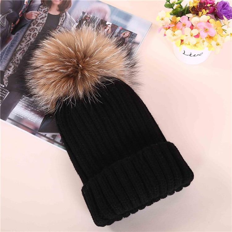 Winter hat female Korean knitting wool large children s parent child tide fox raccoon fur fur