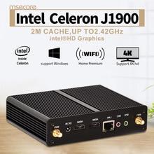 Безвентиляторный Intel Celeron J1900 четырехъядерный процессор Mini PC Windows 10 Linux настольный Компьютер Pocket PC КНУ Неттоп HTPC HD Graphics 300 М wi-fi