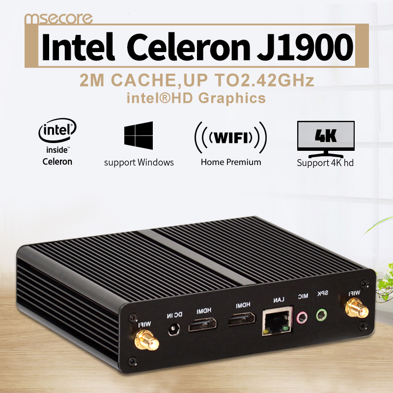 MSECORE Fanless Intel Quad core J1900 Mini PC Windows 10 Linux Desktop Computer barebone system NUC Nettop HTPC HD Graphics WiFi