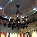 Ретро веревка люстра черный железный 3 6 8 свет свеча люстра Ресторан Бар Кафе домашний промышленный Лофт люстра освещение