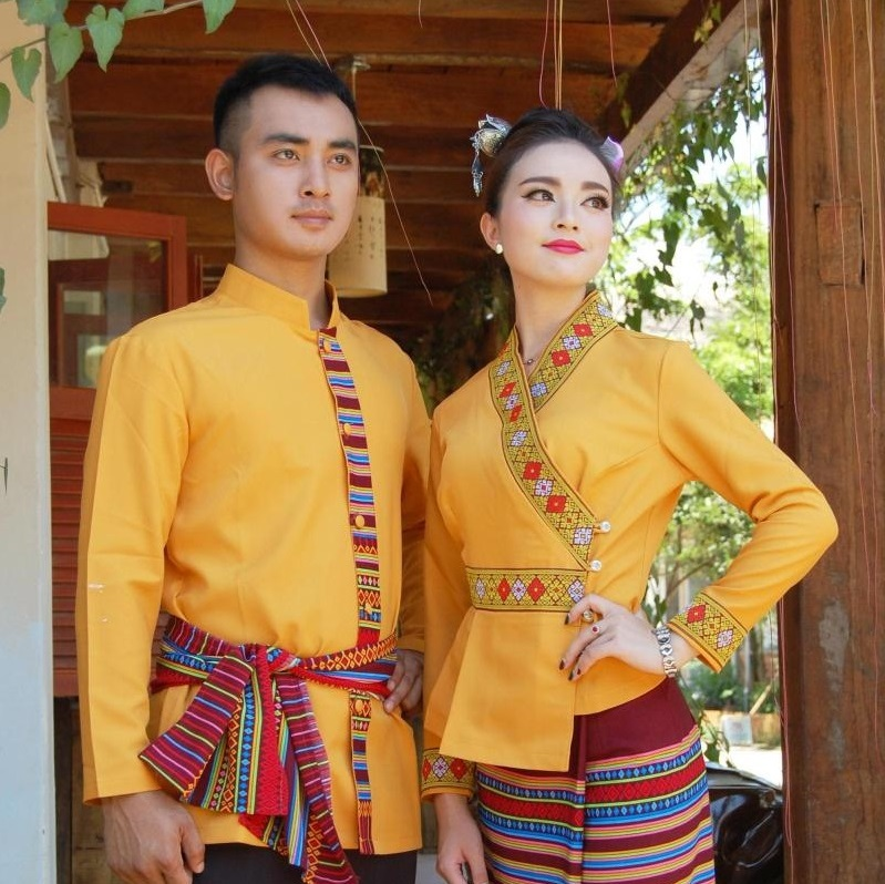 South East Asia Thailand Laos YunNan Hotel uniform Orange yellow long sleeve Top skirt collocation suits men women Special wear