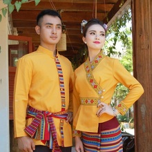 South East Asia Thailand Laos YunNan Hotel uniform Orange yellow long sleeve Top skirt collocation suits men women Special wear цена