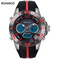 men sports watches military dual display watch analog digital quartz watch male LED rubber red wristwatches 30M waterproof clock