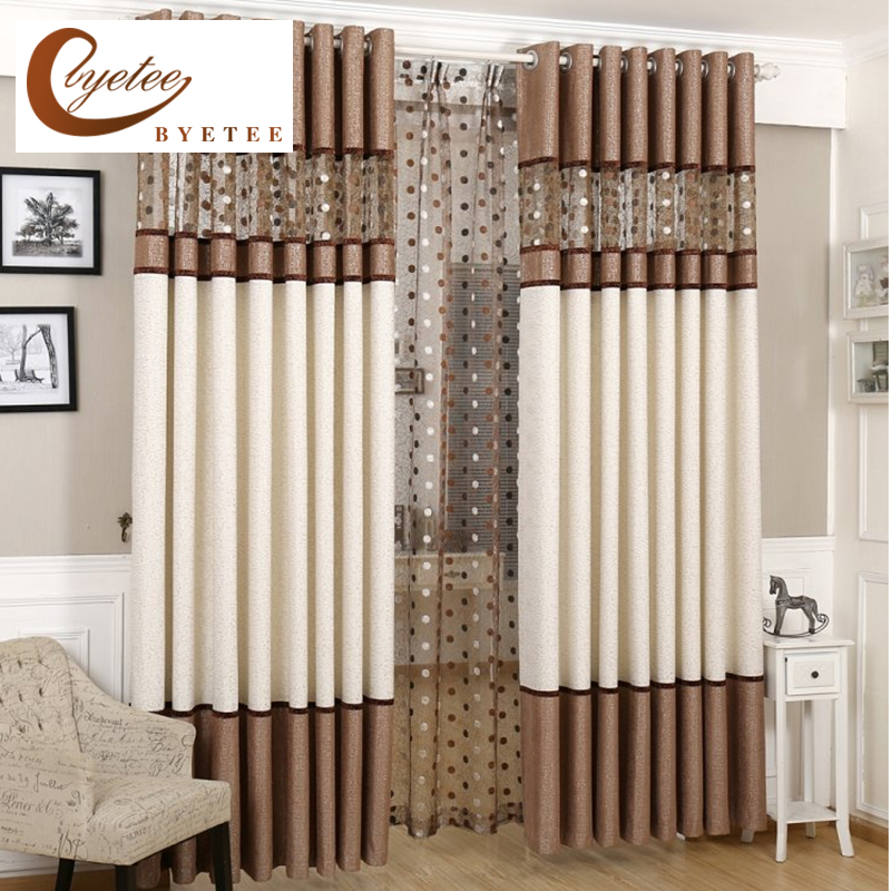 [byetee] Stitching Yarn Curtain Window Modern Curtain Blackout Curtains For Living Room Finished Window Curtains For Bedroom