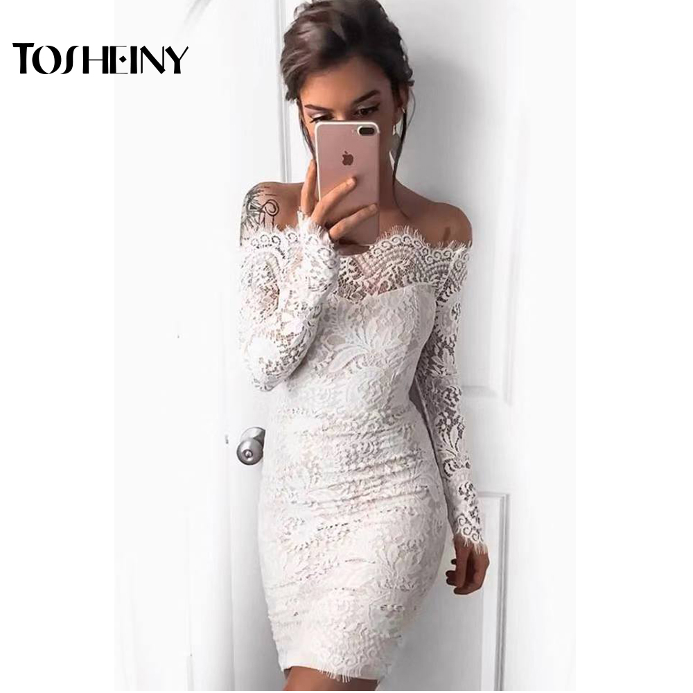 Tosheiny 2019 Women <font><b>Sexy</b></font> Off Shoulder <font><b>Lace</b></font> Backless <font><b>Dresses</b></font> <font><b>Female</b></font> Solid Color <font><b>Mini</b></font> Elegant <font><b>Party</b></font> <font><b>Dress</b></font> Vestdios TH9377 image