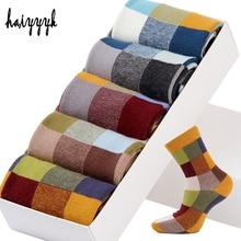 5 пар/лот, мужские Компрессионные носки из чесаного хлопка, Модные Цветные квадратные Носки Happy Dress, мужские носки, размер 39 45