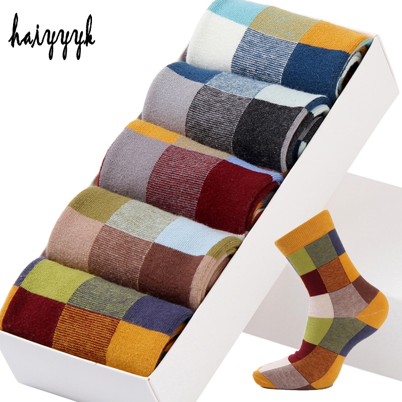 5Pair/Lot Combed Cotton Men's   Socks   Autumn And Winter Compression   Socks   Fashion Colorful Square Happy Dress   Socks   Men Size 39-45