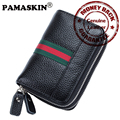 2017 Hot Brand Striped Design 100% Genuine Leather RFID Double Zippers Universal Unisex Card Holders Car Key Wallets Housekeeper