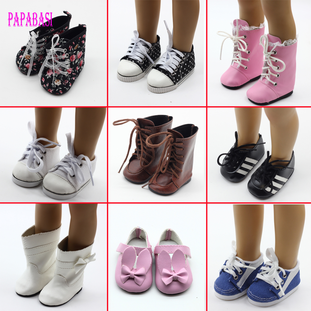 1pair Doll Boots Shoes Fits FOR 18 inch American Girl Doll Shoes With Bow Doll Accessories 9 Colors Shoes for Dolls Boots american girl doll clothes ears and tail tiger leopard sets doll clothes with shoes free for 16 18 inch dolls 3 colors mg 262