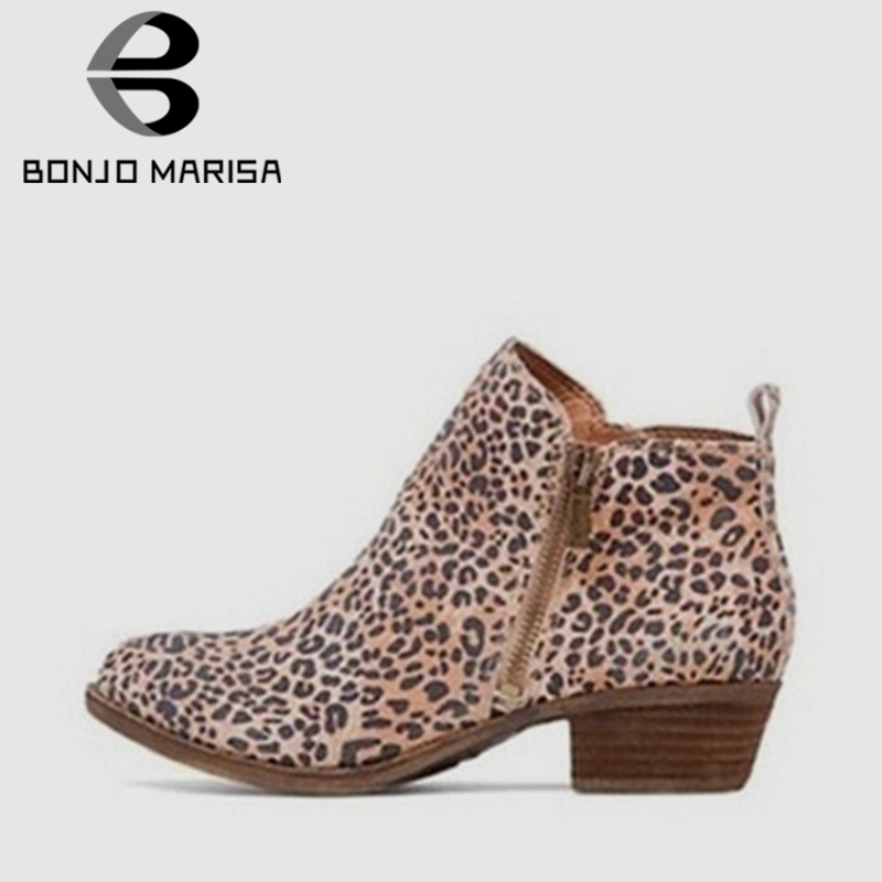 ab46d79ee520 BONJOMARISA Spring Autumn Hot Sale Chunky Heels Ankle Chelsea Booties Women  Large Size 35-43
