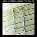 Настоящее стерлингового серебра 925 earrrings foundings болтается компонентов платиновым покрытием