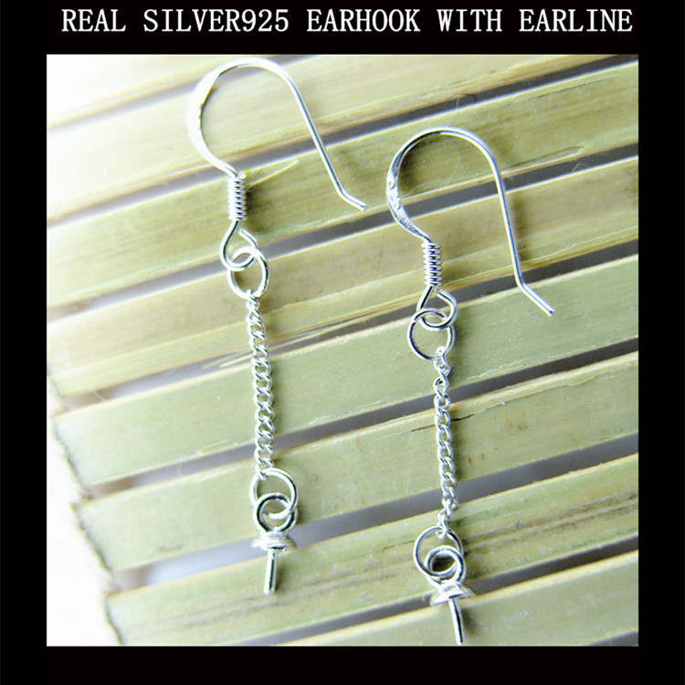 Real 925 sterling silver earrrings foundings dangles components platinum plated