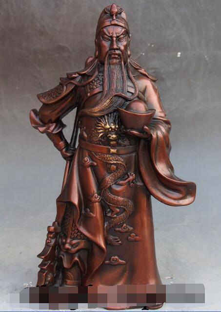 12 Chinese Red Bronze Dragon Yuanbao Guan Gong Yu Warrior God Hold knife Statue