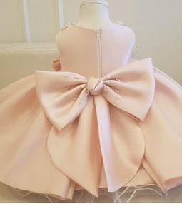 Image 4 - Childrens Princess bun dress dinner party evening dress girl birthday party dress New Beaded Bow Flower Dresses For Wedding