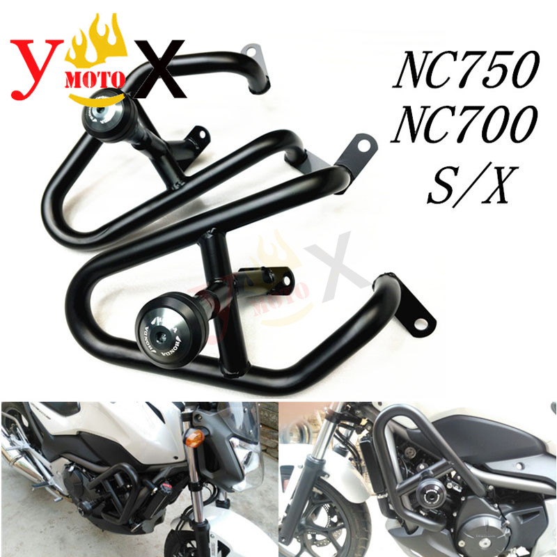 NC750S <font><b>NC700X</b></font> Motorcycle Modification Sport Trick <font><b>Crash</b></font> <font><b>Bar</b></font> Engine Guards Protector W/ Side <font><b>Crash</b></font> Slider For <font><b>Honda</b></font> NC750 NC700 image