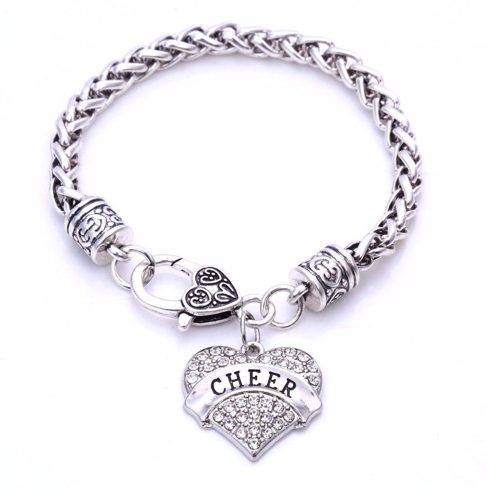 Cheer Charm Bracelets: Cheer Cheerleading Clear Crystal Heart Silver Chain