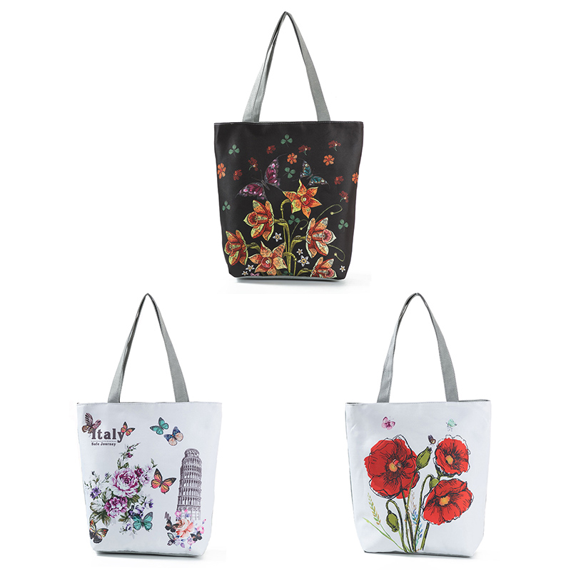 где купить 2018 Casual Floral Printed Tote Handbag Female Large Capacity Canvas Shoulder Bag Summer Beach Bag LBY2018 по лучшей цене