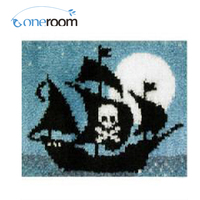 Oneroom ZD180 Pirate Boat On Sea Hook Rug Kit DIY Unfinished Crocheting Yarn Mat Latch Hook