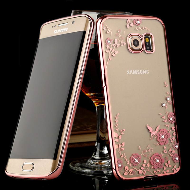 c4b06cbd0 Exquisite Plating Clear Soft TPU Case For Samsung Galaxy S6 Edge Note 5 8 S7  Edge S8 Silicone Case Diamond Flower Phone Cover