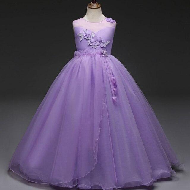 Зимнее платье с цветочным узором для девочек длинное платье для свадьбы платье одноцветное Розовый Белый аппликации Выпускной платье Vestido largo Violeta BODA