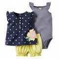 Verão Do Bebê meninas roupas Set 3 pcs Bebê Meninas Bodysuits + Curta + T-shirt de Alta Qualidade Conjunto de Roupas de Bebê recém-nascidos Roupa Dos Miúdos definir