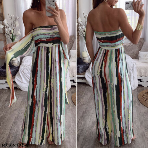 Women's Floral Playsuit Holiday Summer Beach Jumpsuit Romper Strapless Wide Leg Long Trousers
