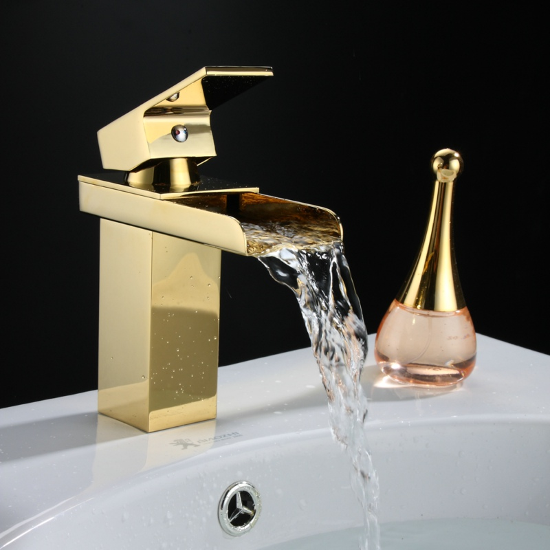 Free shipping becola mounted gold plated cold and hot water basin faucet single handle bathroom tap waterfall faucet LT-501A becola chrome waterfall bathroom faucet brass hot and cold water faucet free shipping lt 601