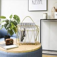 Metal Gold Storage Basket Shelf With Handle Vogue Modern Nordic Iron Desk Magazine Newspaper Book Storage Basket Organizer