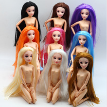 New Long Hair 14 Moveable Jointed Dolls With 3D Eyes Naked Nude Body Female Doll Body DIY Toys For Girls Gifts