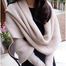 Европейский и американский стиль новые зимние шерстяные шарфы для мужчин и женщин с рукавами вязаный шарф толстый теплый высококлассный модный