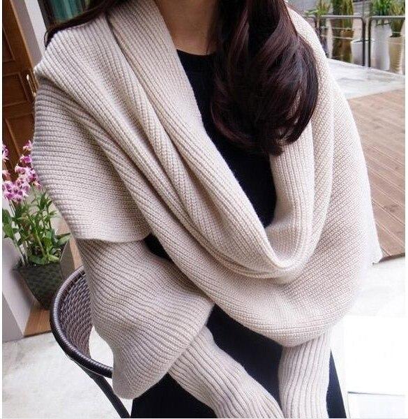 Europa y América estilo nuevo invierno bufandas de lana para hombres y  mujeres con mangas de punto bufanda caliente gruesa de alta manera 8347c8496dd75