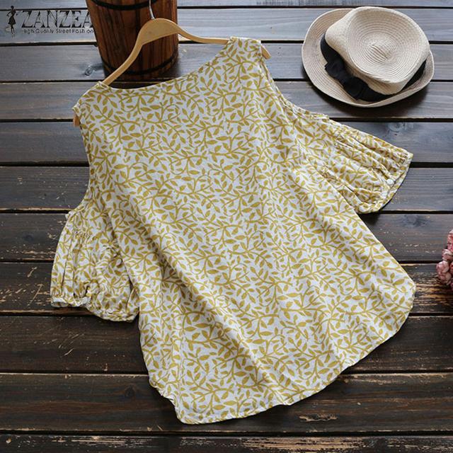 2018 ZANZEA Summer O Neck Lantern Sleeve Women Blouse Loose Off Shoulder Boho Floral Printed Cotton Linen Top Work OL Shirt