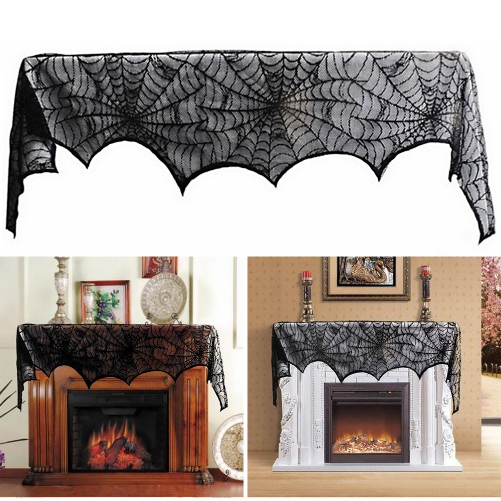 96 inch round tablecloth - 122 244cm 48 96inch Rectangle Black Spider Web Halloween Lace Tablecloth Tablecover Halloween Decoration Decor Props