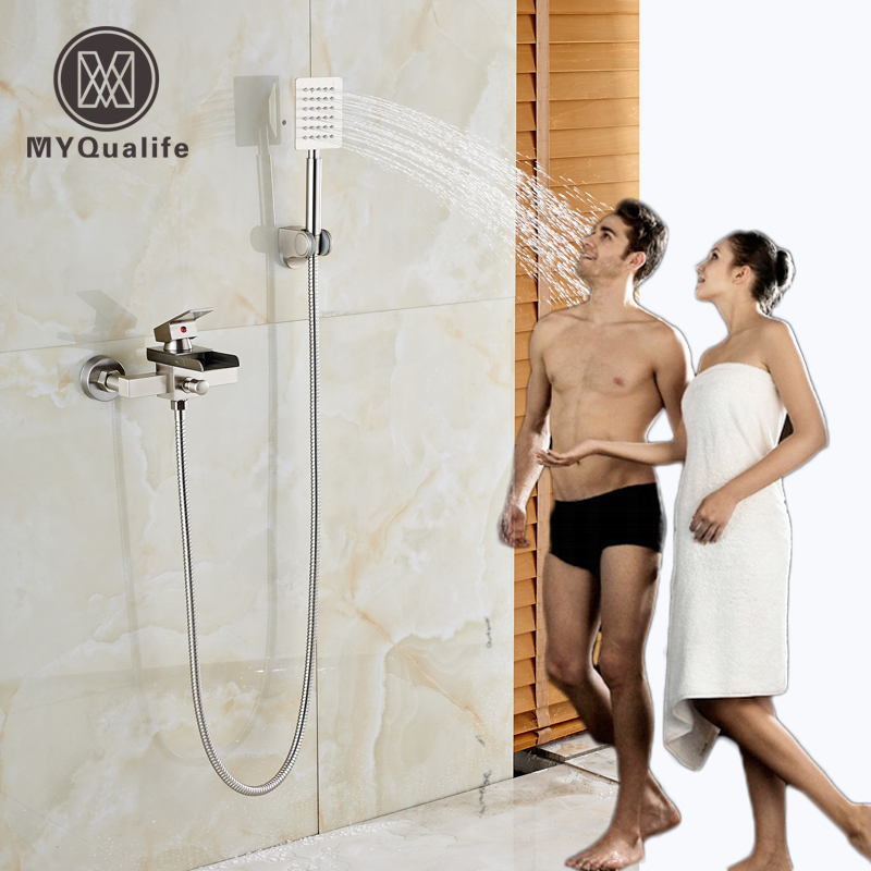 Nickel Brushed Bathroom Tub Shower Faucet Waterfall Tub Spout + Handheld Shower Head Bathtub Mixer Taps wall mounted waterfall shower faucet glass set copper bathtub faucet shower chrome bathroom handheld shower head faucet mixer