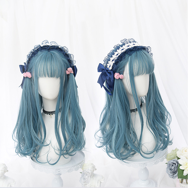Красивые длинные кудрявые женские волосы Косплей парик синтетический парик Лолита каваи синие волосы женские модные девушки Лолита парик милый уникальный