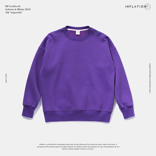 INFLATION Winter Mens Hip Hop Multi-colour Hoodies Velvet Fabrics Fleece Sweatshirts 8 Solid Color Winter Men Sweatshirts 166W17 11