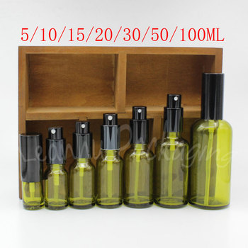Green Glass Bottle With Black Spray , Cosmetic Water / Skin Care Water Packaging Bottle , Empty Cosmetic Container