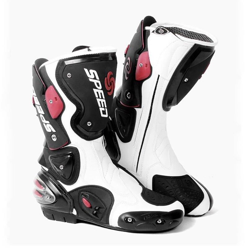 Nowy moto rcycle ochronny sprzęt moto buty wyścigowe skóra z mikrofibry w dłuższym stylu boot Heel bufor konna buty motocrossowe