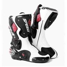 Yeni moto rcycle koruyucu donanım moto yarış botları mikrofiber deri uzun stil çizme topuk tampon sürme moto çapraz botları